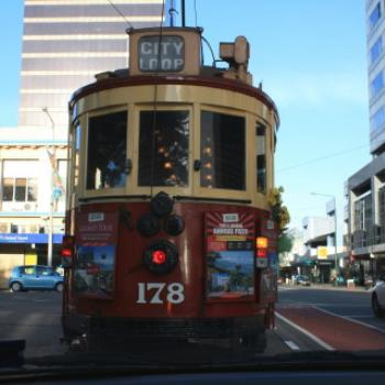 3856 following the City Loop Tram, Christchurch, NZ 19th March'10 - 10 months before it was severly damaged by an earthquake, Kate/Sydney