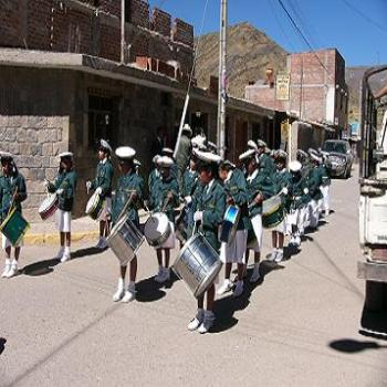 School marching girls in Peru