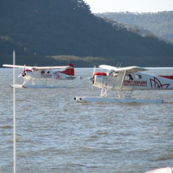seaplanes dropping off & picking up from Peats Bite Restaurant Hawkesbury River Kate/Sydney