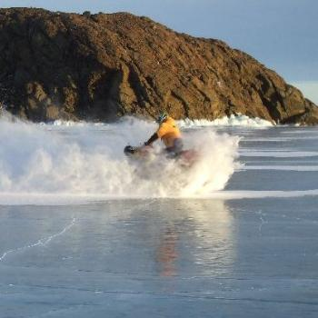 Skidding on Antarctic Frozen lake