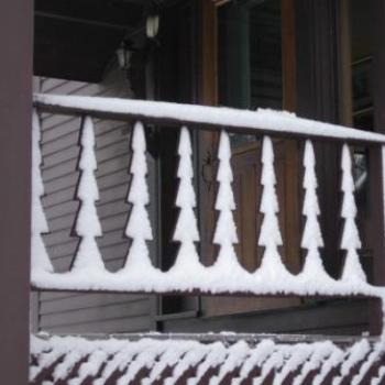 snow on porch rails, vermont