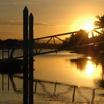 Maroochydore, QLD. Canals at sunset