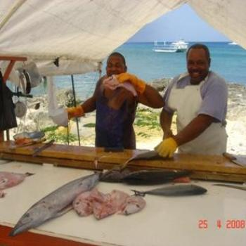 Fresh fish buying in Georgetown, Grand Cayman