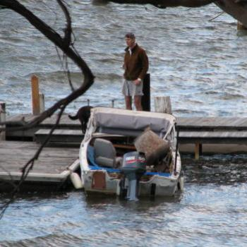 0965  too windy to get over to our jetty now with the heavy mixer in the boat Hawkesbury River Nov'08 Kate/Sydney