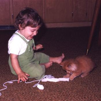 Christine with kitten circa 1971