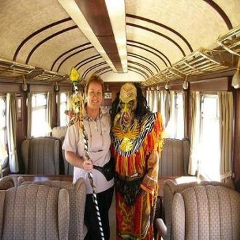 with chief on Orient Express, Peru
