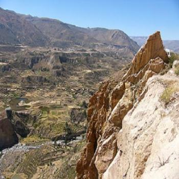 Terraced hillsides in Colca Canyon Andes, Peru