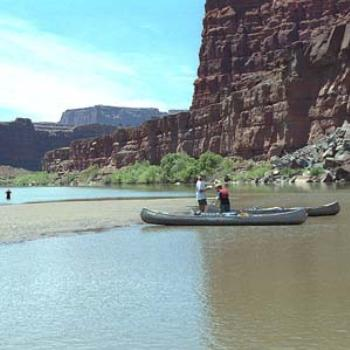 Canoeing down the Colorado River, Canyonlands National Park, Utah