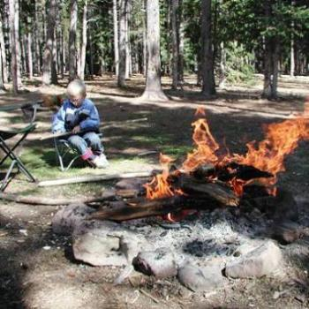 Learning to whittle while camping in Uintah mountains, Utah