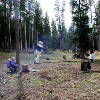 Creating own entertainment in high Uintah mountains, Utah