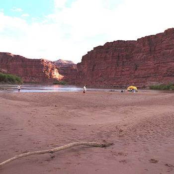 One of our canoeing camps, Colorado River, Canyonlands Natl Park, Utah