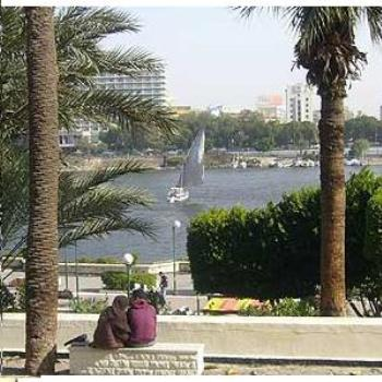 View of Nile River from Andalus Garden Cairo Egypt