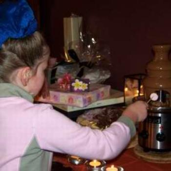 Trying out the chocolate fountain