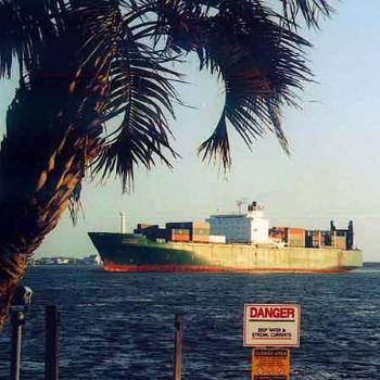 Container ship at the mouth of Cape Fear in Southport NC \ kay NC
