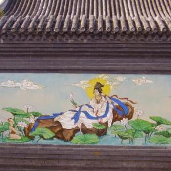 one of the painted walls in the Chinese Museum Bendigo