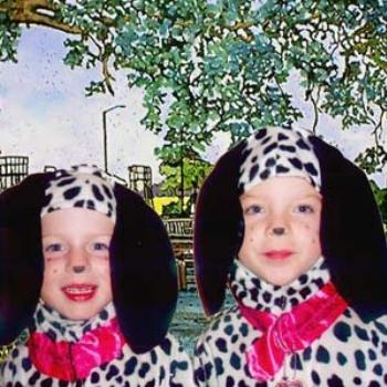 Two Dalmations : My twin granddaughters wearing costumes that I made, with my painting in background / kr