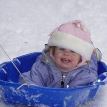 Jordyn loves to sled/ jeannea Montana