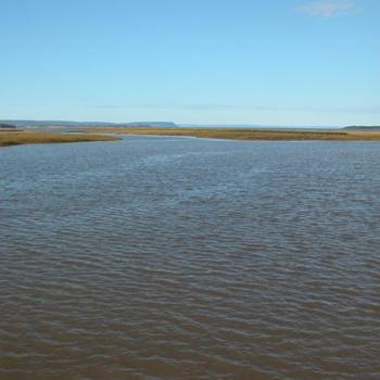 high tide at Wolfville, Nova Scotia, Canada. The high dirt areas are dikes created by the Acadian farmers to reclaim the land.