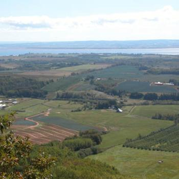 Overlooking the fertile farms of western Nova Scotia, Canada