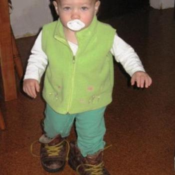 Laura in Dad's Boots