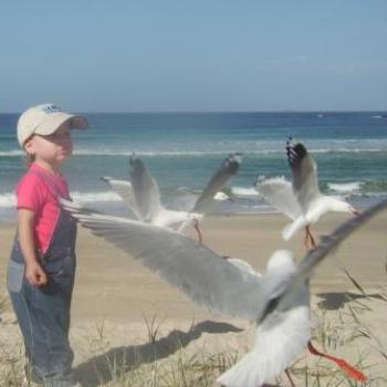 Laura with some seagulls