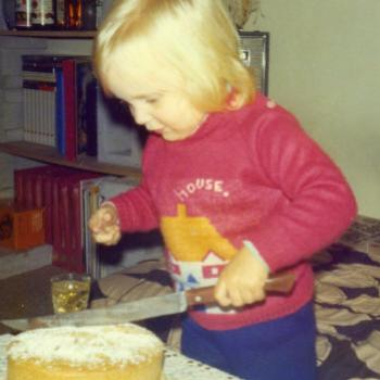 cutting Dad's cake 1977 Kate/Sydney