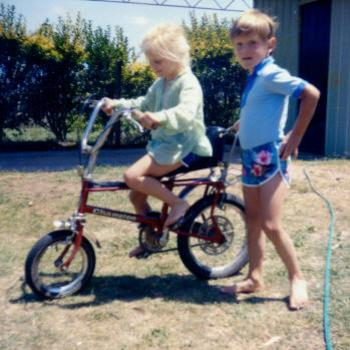 Cousin helping her ride bicycle Sale Victoria 1980 Kate/Sydney