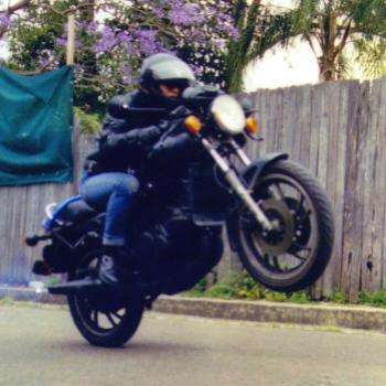 My daughter doing a wheelie 1990'sKate/Sydney