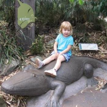 Laura on a Crocodile