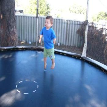 Bailey on the trampoline 21mths old, Anne Albany