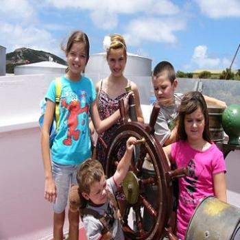 My grandchildren on the Cheynes Whale Boat, Frenchman Bay