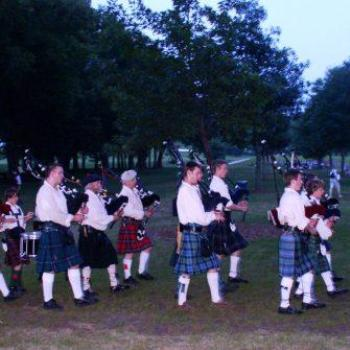 Bagpipers for pageant at Nauvoo, Illinois, USA, July 2008, Wilodene