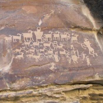 Petroglyph Depicting a Hunt of Mountain Sheep Herd in Nine Mile Canyon, Utah, USA, Oct 2008, by Wilodene