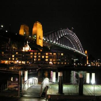 Sydney Harbour bridge at night from The Rocks