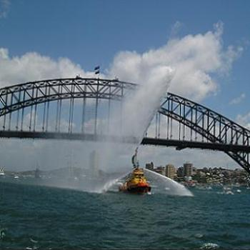 Water Canon from Pilot Boat on Sydney Harbour - Australia Day Jan-06