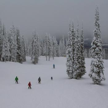 """Snow Ghosts"" and skiers in the clouds - Silver Star, British Columbia, January 2010"