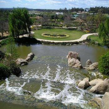 Waterfall and pond at Hunter Valley Gardens, NSW - Anne/Sydney