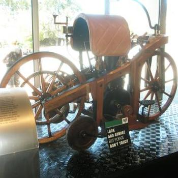 Wooden motorised Velocipede made by Daimler - on display at Birdwood Museum SA - Anne/Sydney