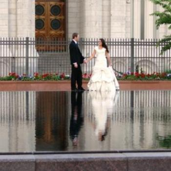 Salt Lake City Temple wedding reflection, June 2010 by Wilodene