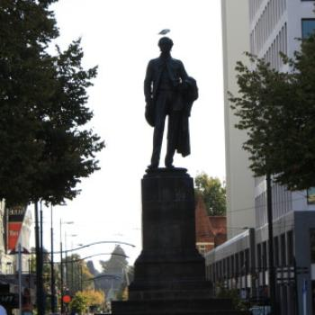 3658 John Robert Godley statue 1867, Cathedral Square, Christchurch, South Island, NZ Holiday, March'10, Kate/Sydney