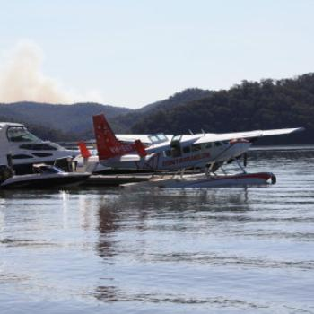 0928 seaplane parked with the boats, Sunny Corner, Peats Bite, Hawkesbury R, NSW, 12th Sept'09, Kate/Sydney