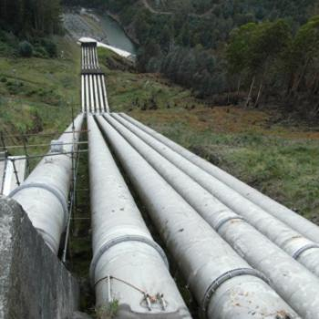 Water pipes carrying water from Tarraleah down to the Tungatinah Power Station, Central Highlands, Tasmania