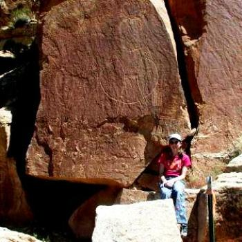Petroglyphs showing ancient Indians in Dry Fork Canyon, Utah, with Hula Hoops?