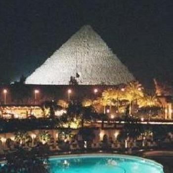The great Pyramids of Egypt at night