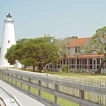 Okracoke Lighthouse and keeper's house, Outer Banks, North Carolina