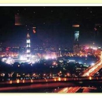 Cairo Tower at night from town side