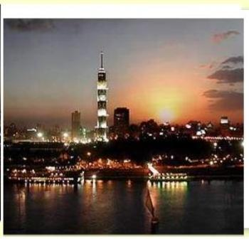 Cairo Tower at night from Nile Side