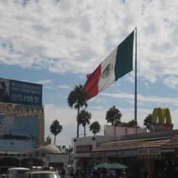 Mexico.Flag and Clouds.