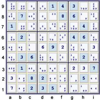 Puzzle at 30 cells solved after hidden pair 17